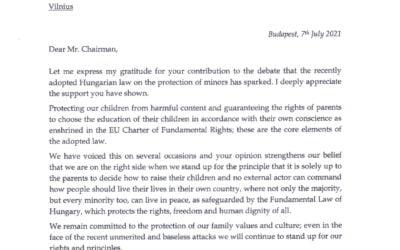 Viktoras Orbanas dėkoja Nacionaliniam susivienijimui  už palaikymą